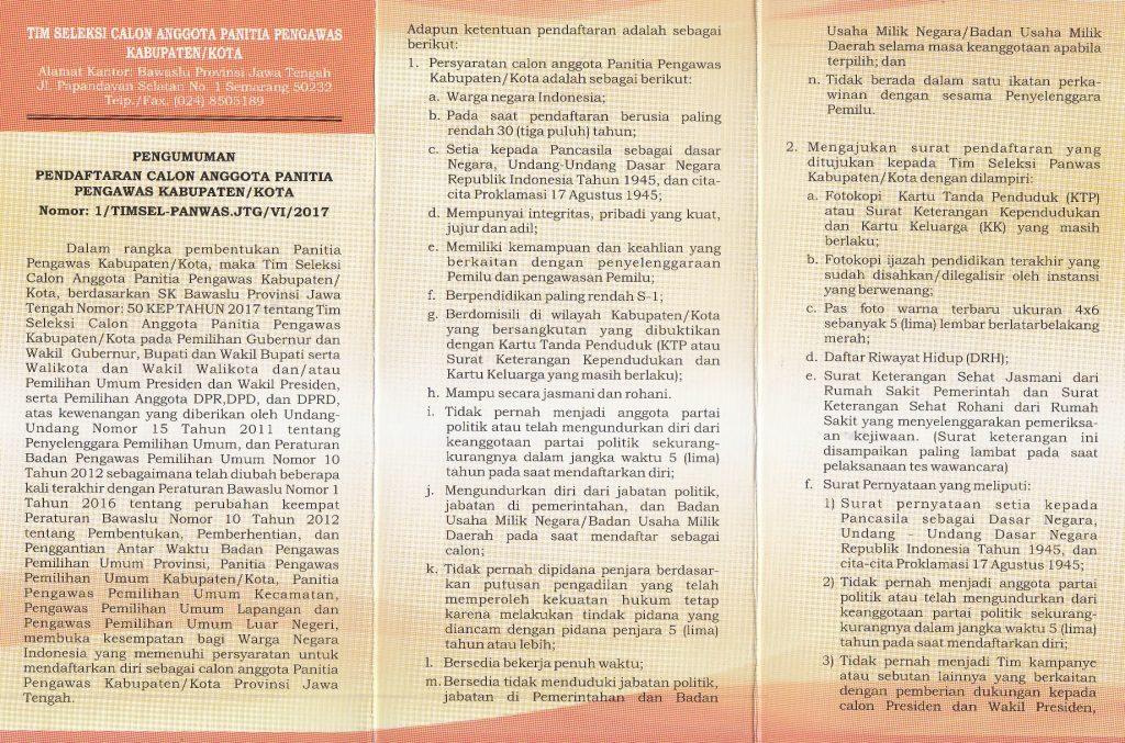 Bawaslu Prov Jateng Buka Pendaftaran Panitia Pengawas Kabupaten/Kota